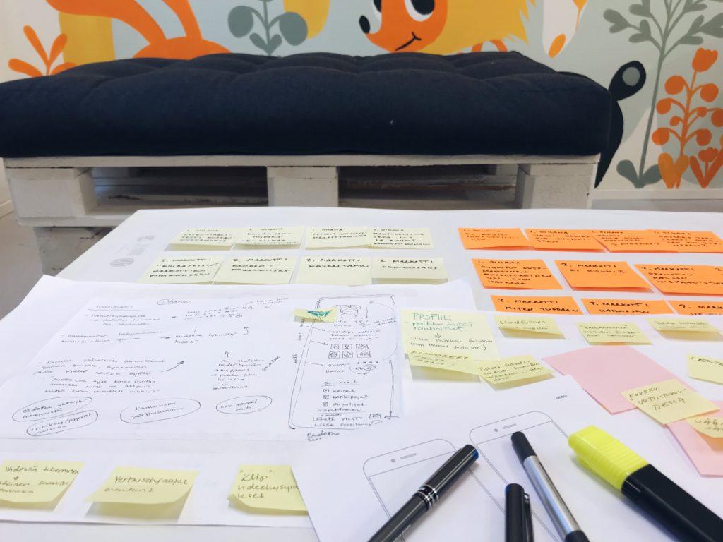 Pöytä, jossa kyniä ja papereita, joissa muistiinpanoja ja post it -lappuja.